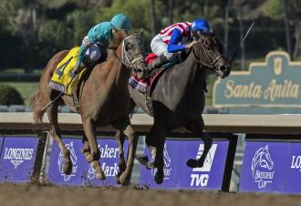 British Idiom (left) defeats Donna Veloce in the 2019 BC Juvenile Fillies