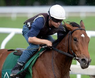 Frank's Rockette trains at Saratoga Race Course on Aug. 25