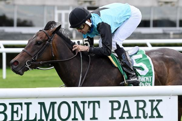 She's My Type wins the License Fee Stakes at Belmont Park