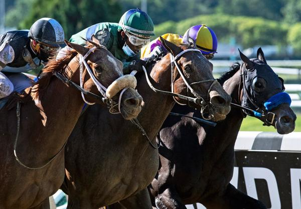 She's a Julie (center) wins the Ogden Phipps Stakes at Belmont Park