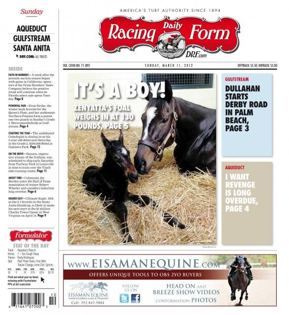 Daily Racing Form - March 11, 2012 | Zenyatta covers | Daily
