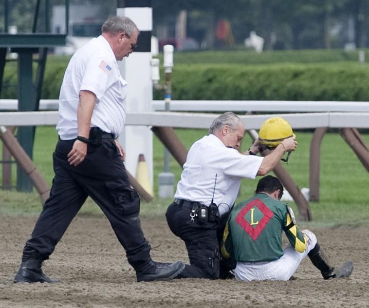 Kent Desormeaux after fall at Saratoga