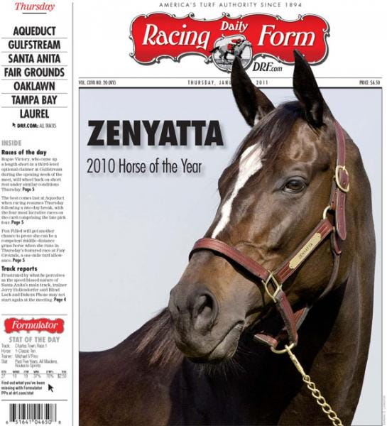 Zenyatta 2010 Horse Of The Year Daily Racing Form Cover Daily