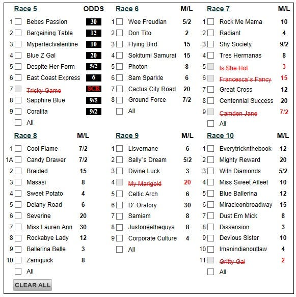 Belmont 1042013 485k Pick 6 Carryover Daily Racing Form
