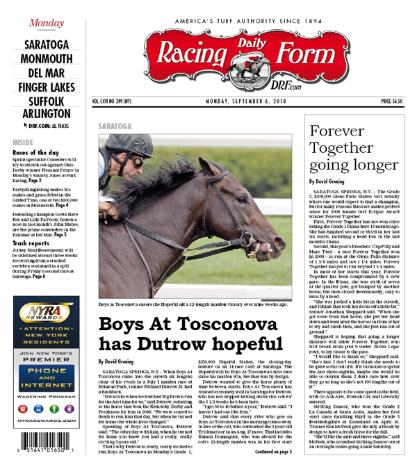 Cover Boy: The Eventual Hopeful Winner Makes The Cover Of Daily Racing Form  On Closing Day Of Saratogau0027s 2010 Meet