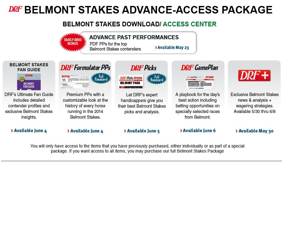 Belmont Package Access Page Daily Racing Form