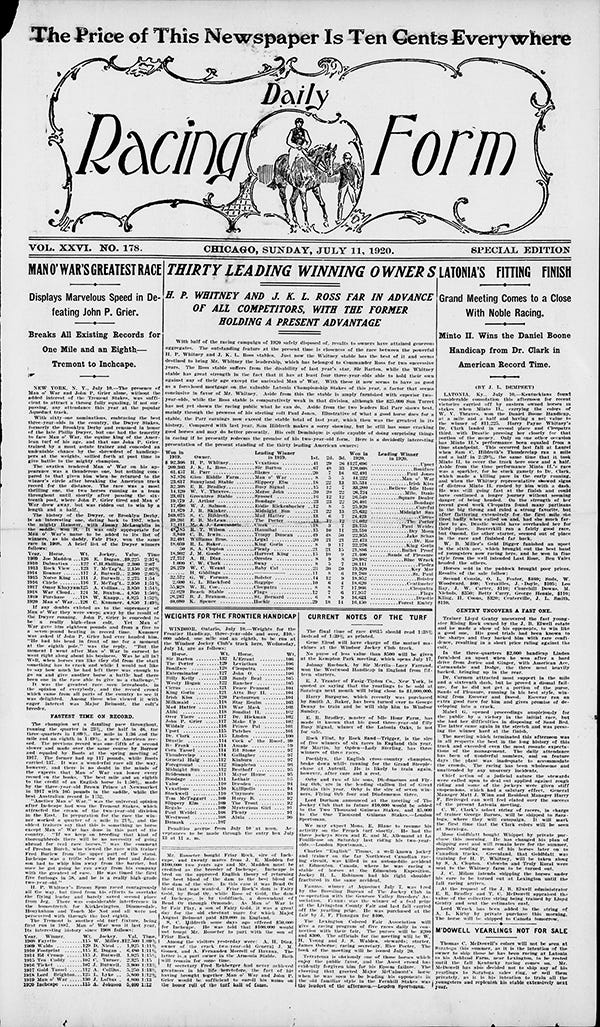 Through The Drf Archives Man O War  Daily Racing Form